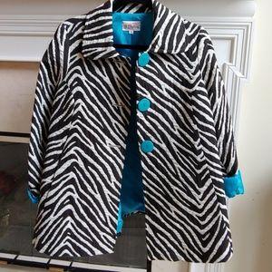 3 Sisters Zebra Swing Coat Sz M